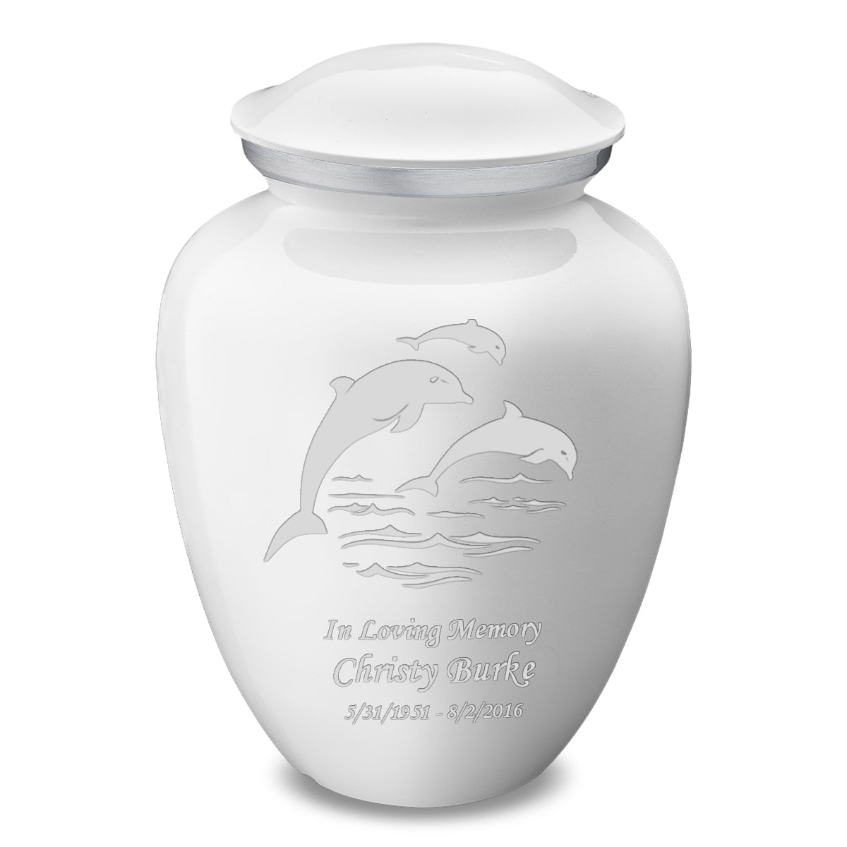 Adult White Embrace Dolphins Cremation Urn