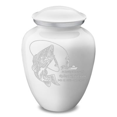 Adult Embrace White Fishing Cremation Urn