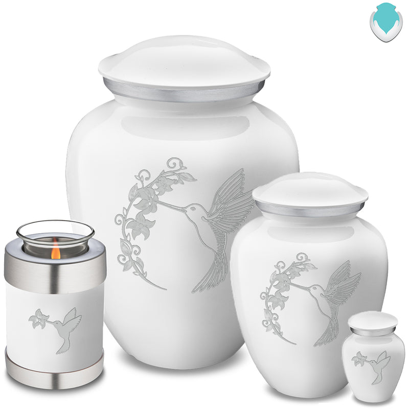 Adult Embrace White Hummingbird Cremation Urn
