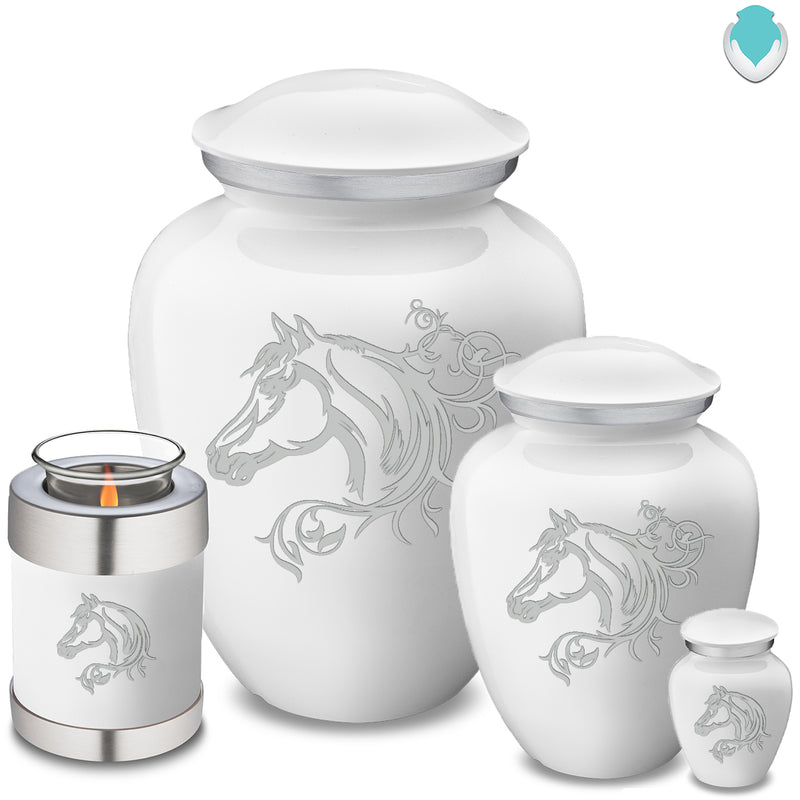 Adult Embrace White Horse Cremation Urn