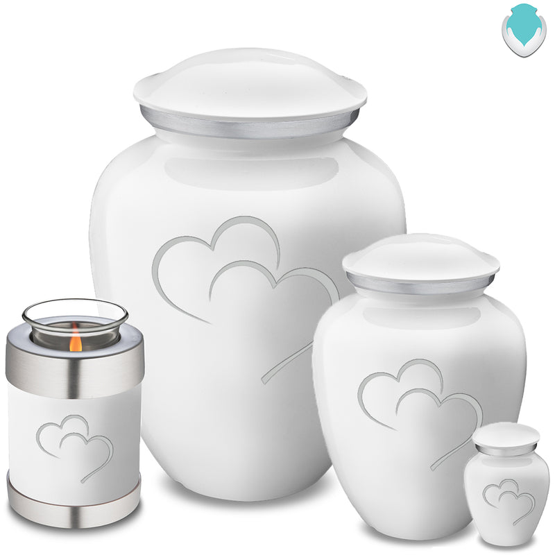 Candle Holder Embrace White Hearts Cremation Urn