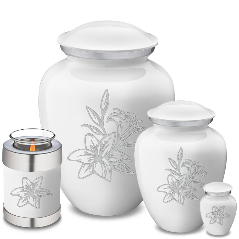 Candle Holder Embrace White Lily Cremation Urn