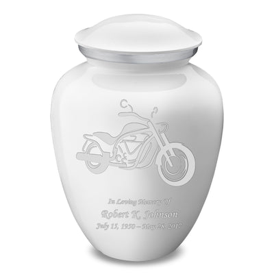 Adult Embrace White Motorcycle Cremation Urn