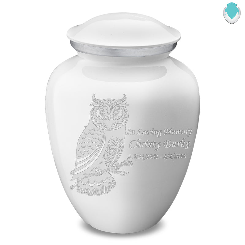 Adult Embrace White Owl Cremation Urn