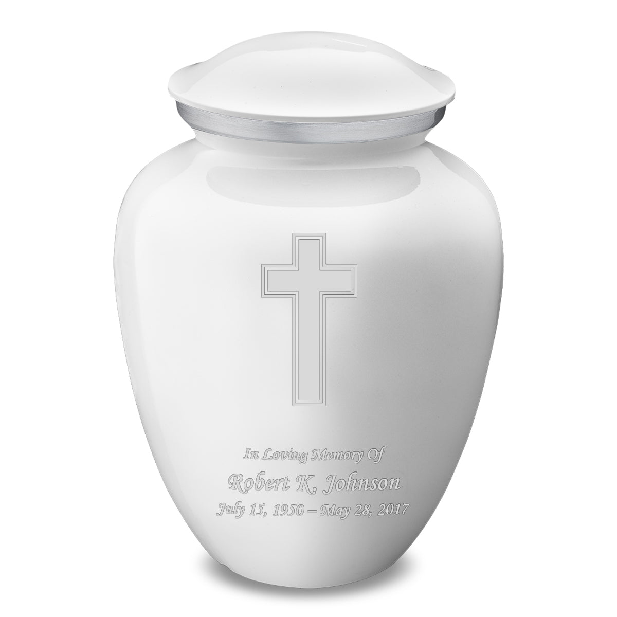 Adult Embrace White Simple Cross Cremation Urn