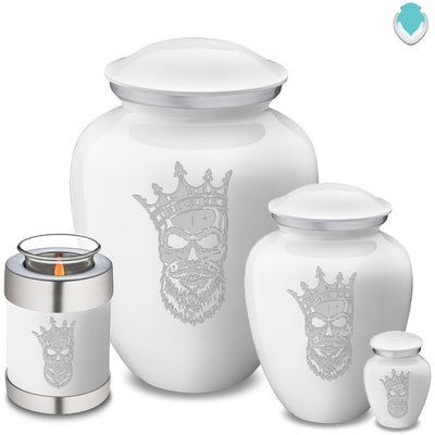 Adult Embrace White Skull Cremation Urn