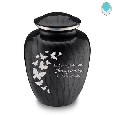 Adult Embrace Pearl Black Butterfly Cremation Urn