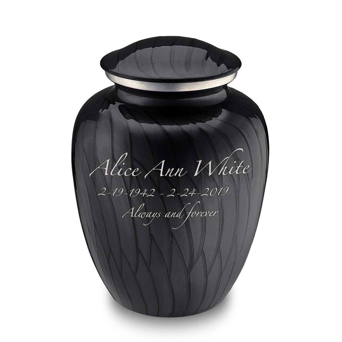 Adult Embrace Pearl Black Cremation Urn
