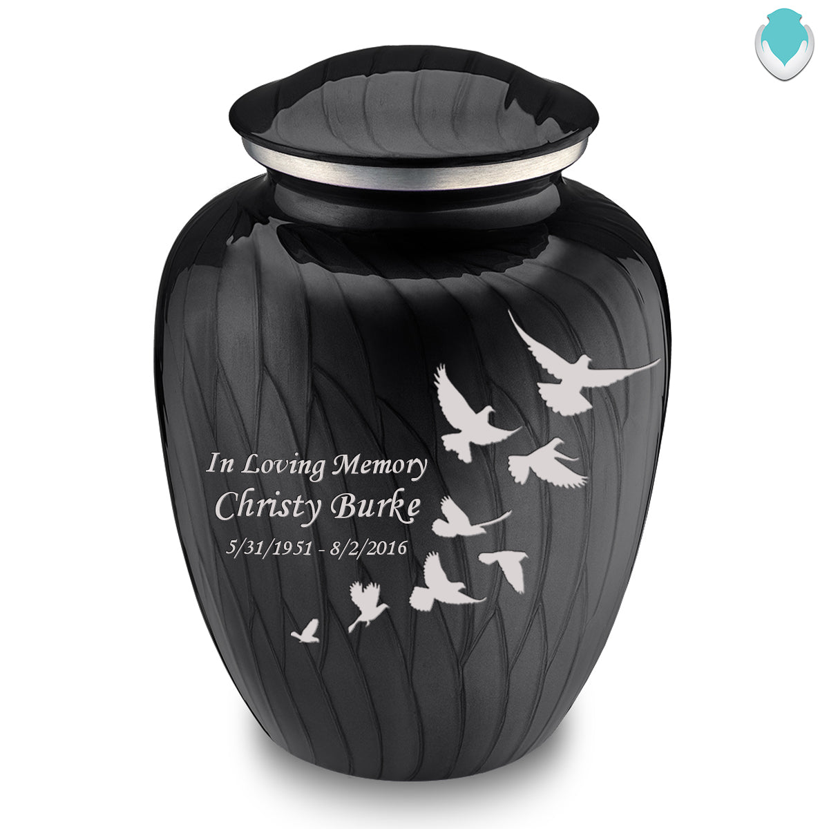 Adult Embrace Pearl Black Doves Cremation Urn