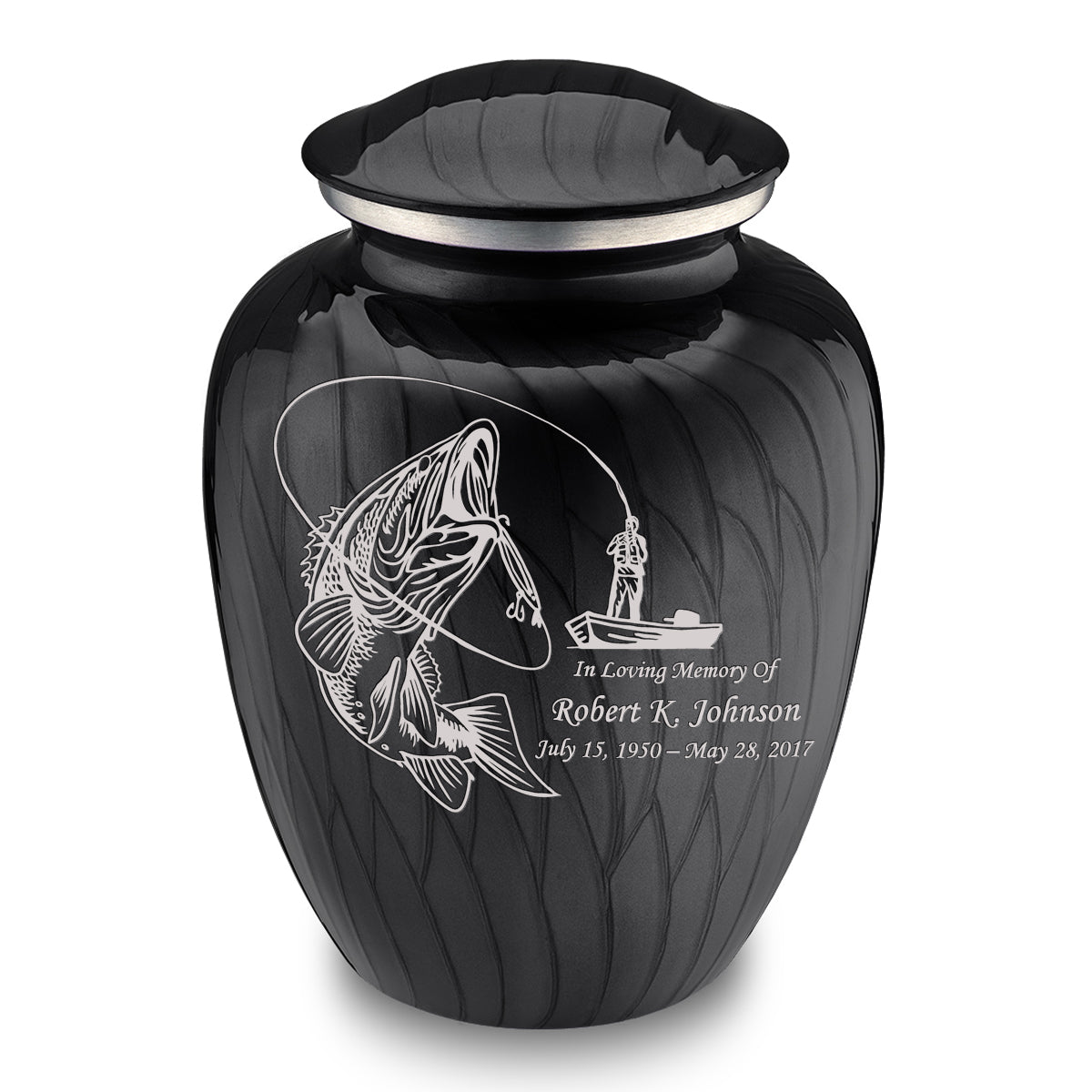 Adult Embrace Pearl Black Fishing Cremation Urn