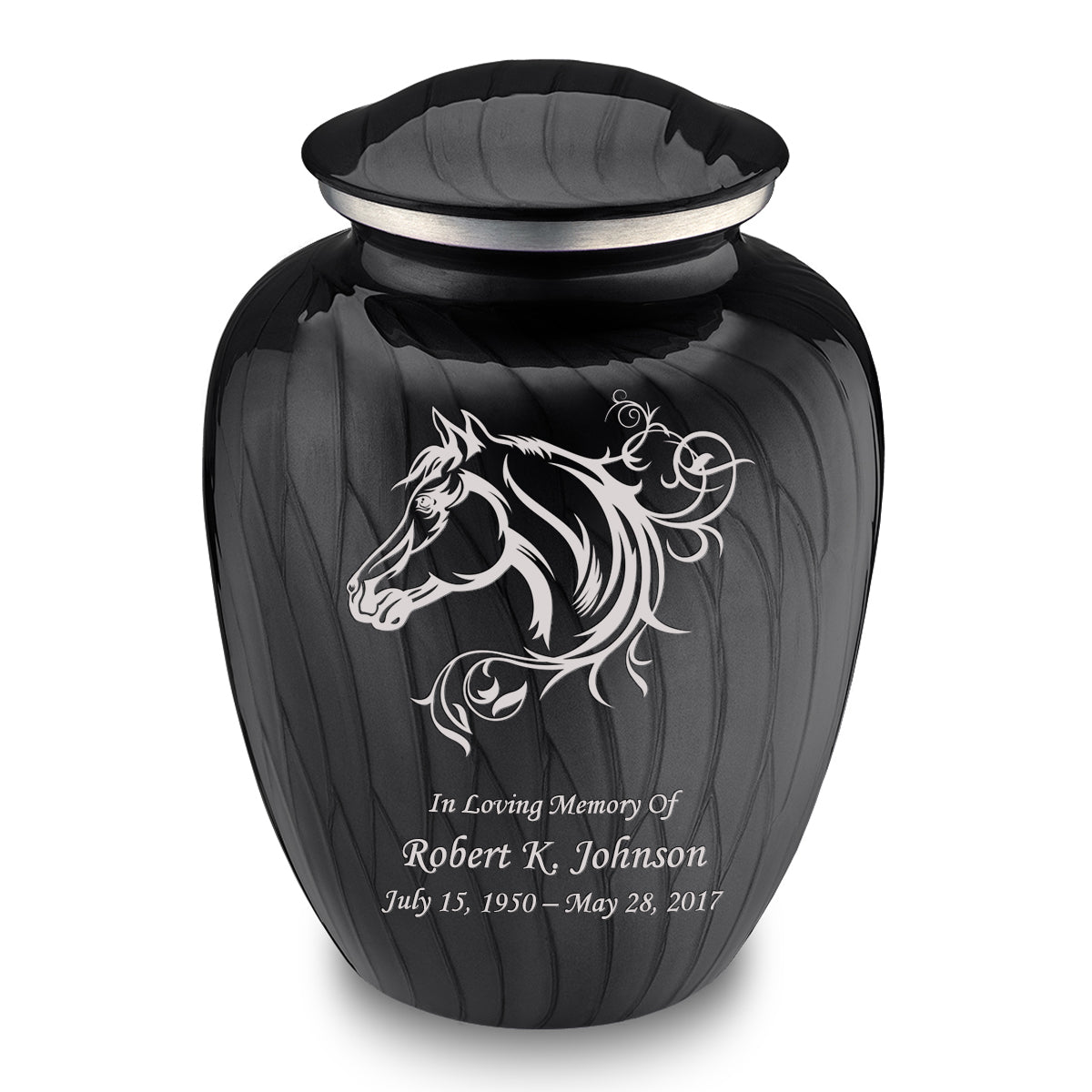 Adult Embrace Pearl Black Horse Cremation Urn