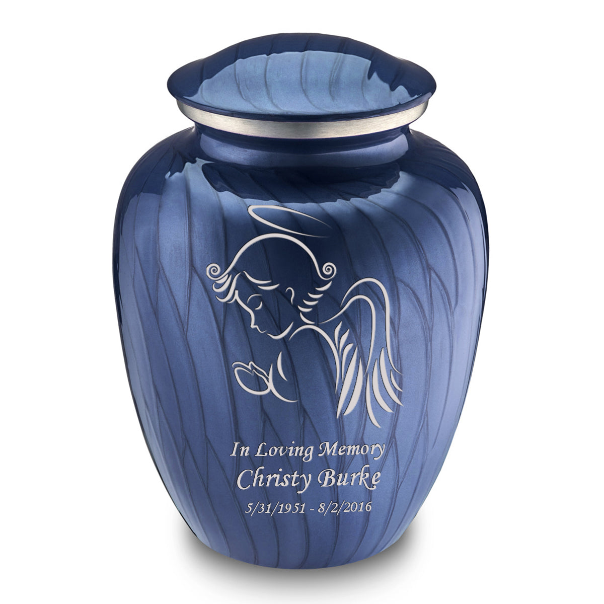 Adult Embrace Pearl Cobalt Blue Angel Cremation Urn