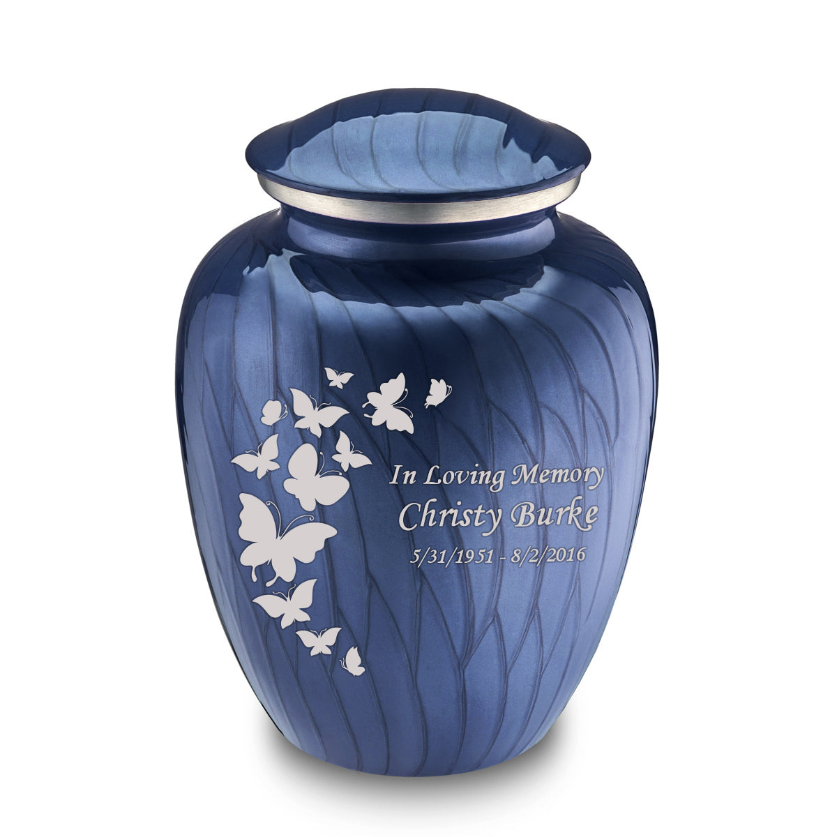 Adult Embrace Pearl Blue Butterfly Cremation Urn