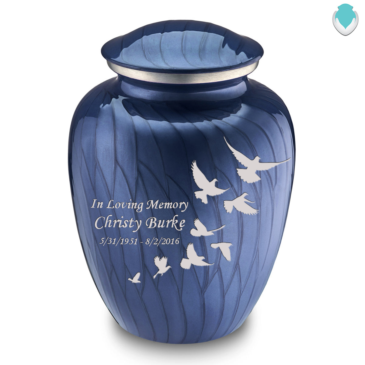 Adult Embrace Pearl Blue Doves Cremation Urn