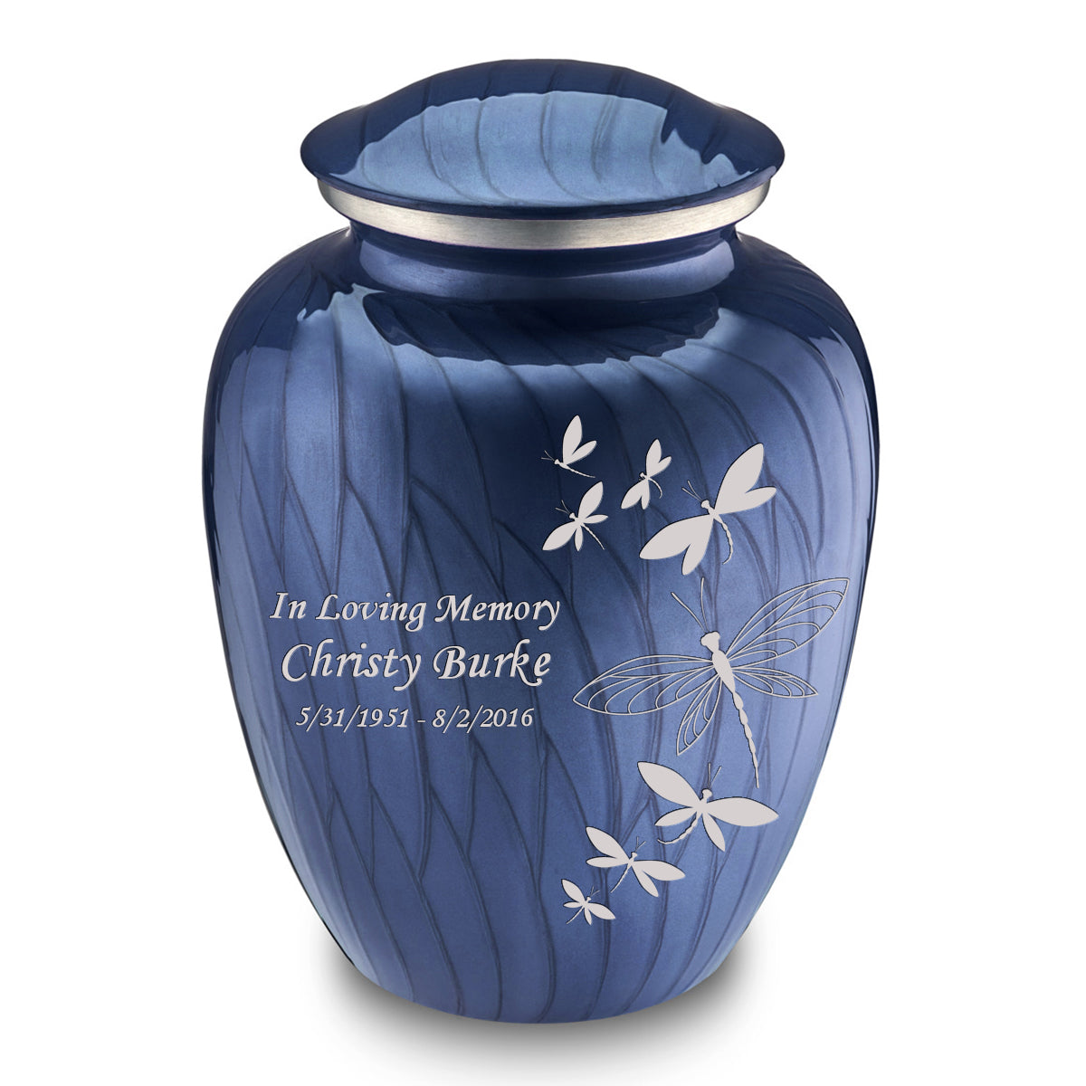 Adult Embrace Pearl Cobalt Blue Dragonflies Cremation Urn