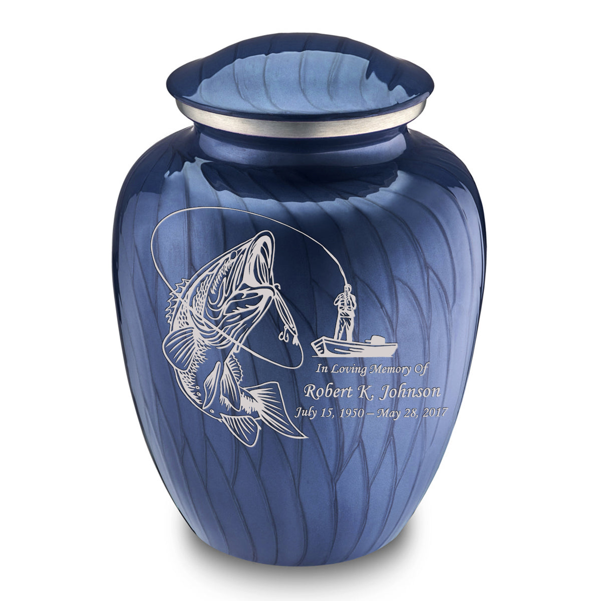 Adult Embrace Pearl Cobalt Blue Fishing Cremation Urn