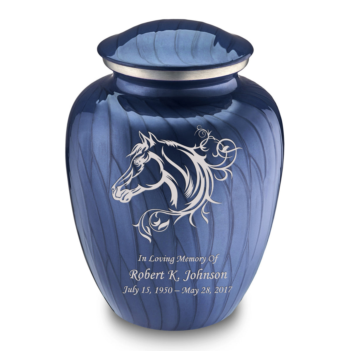Adult Embrace Pearl Cobalt Blue Horse Cremation Urn