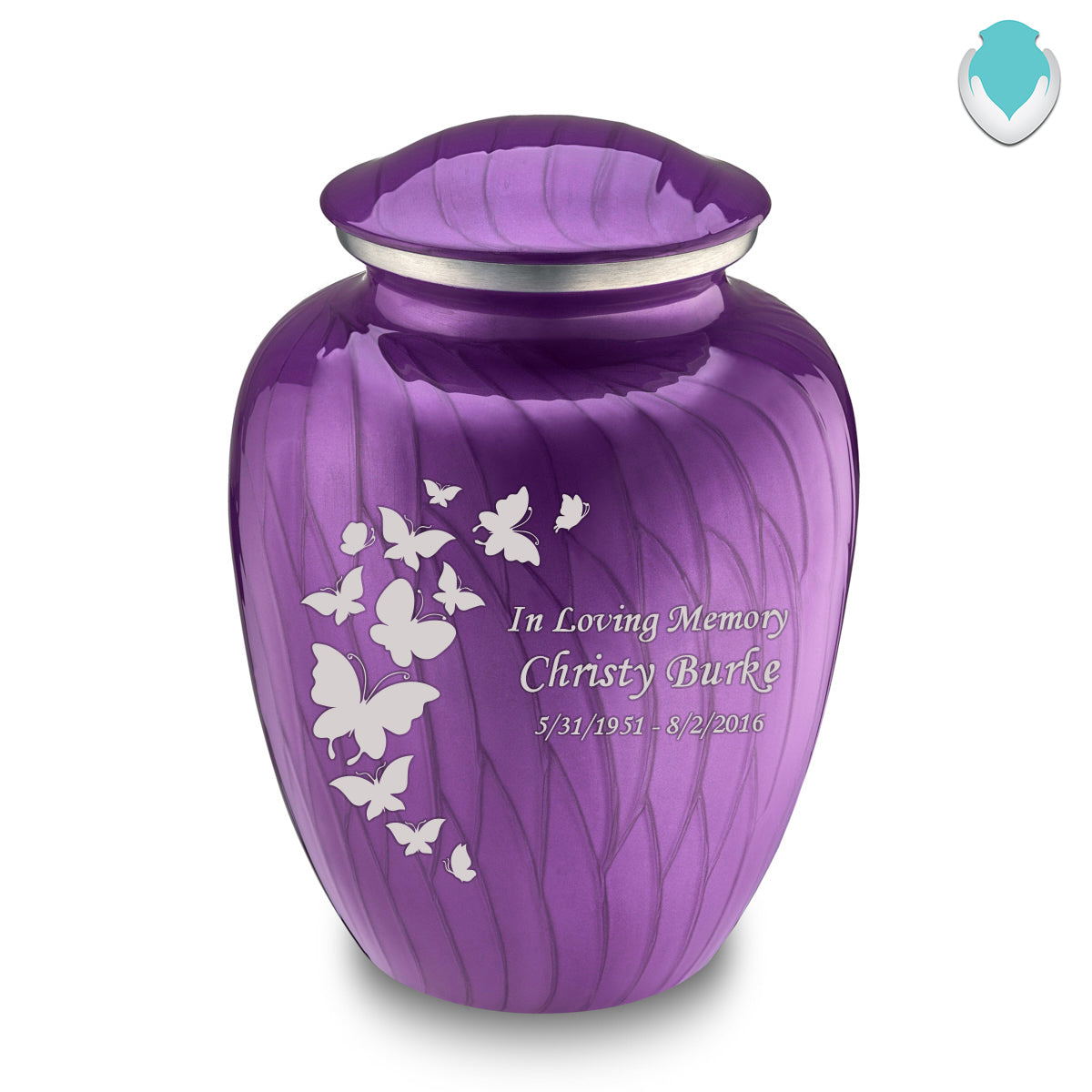 Adult Embrace Pearl Purple Butterfly Cremation Urn