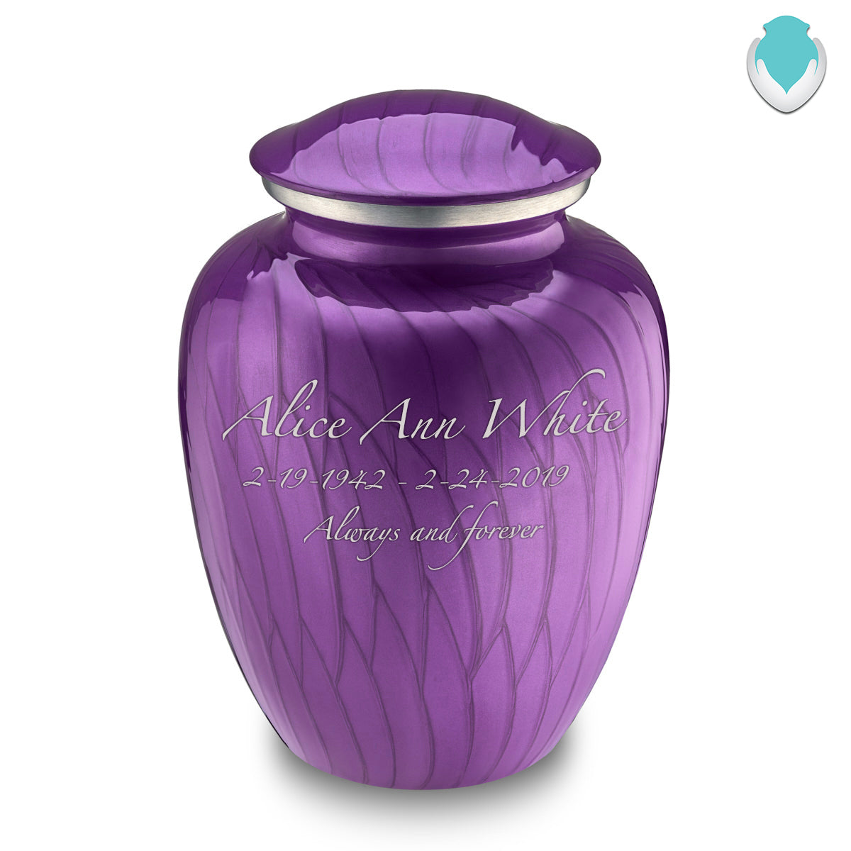 Adult Embrace Pearl Purple Cremation Urn with Custom Engraving