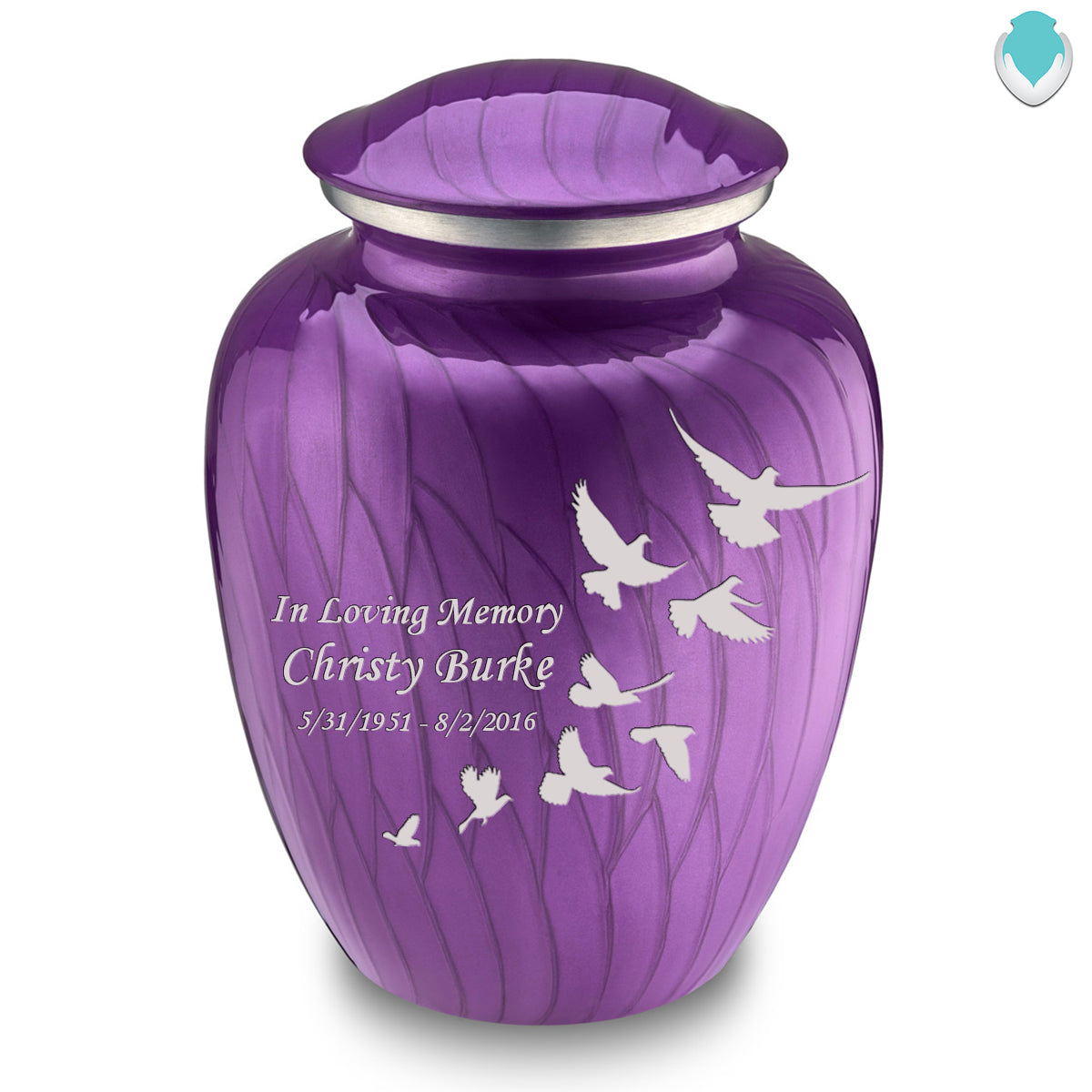Adult Embrace Pearl Purple Doves Cremation Urn