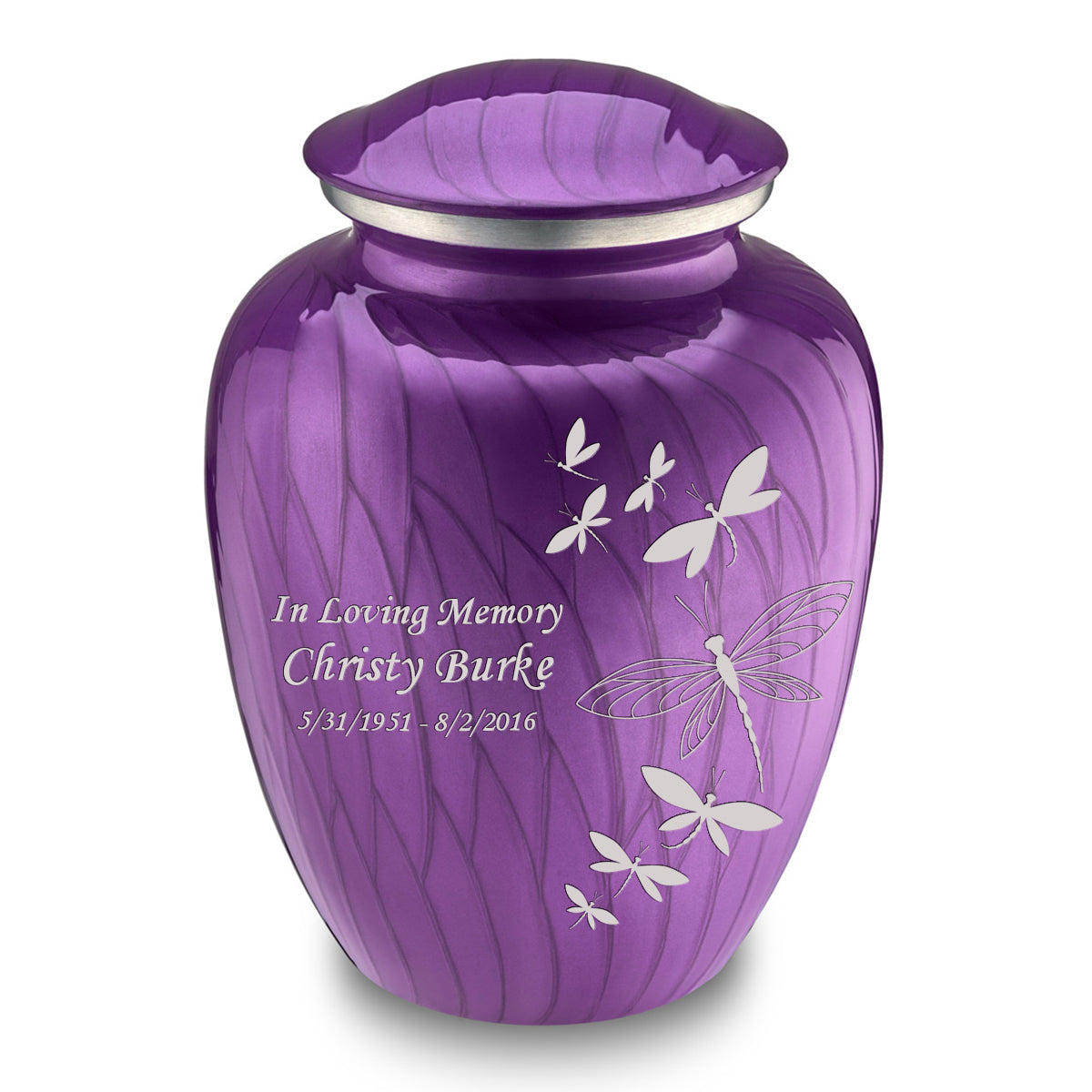 Adult Embrace Pearl Purple Dragonflies Cremation Urn