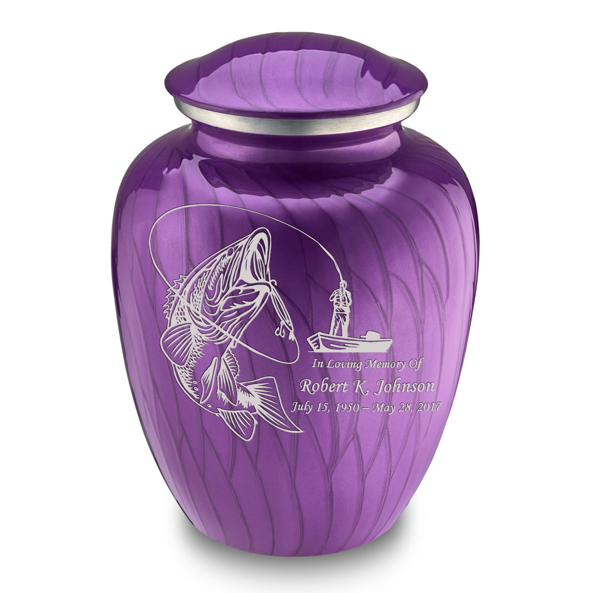 Adult Embrace Pearl Purple Fishing Cremation Urn