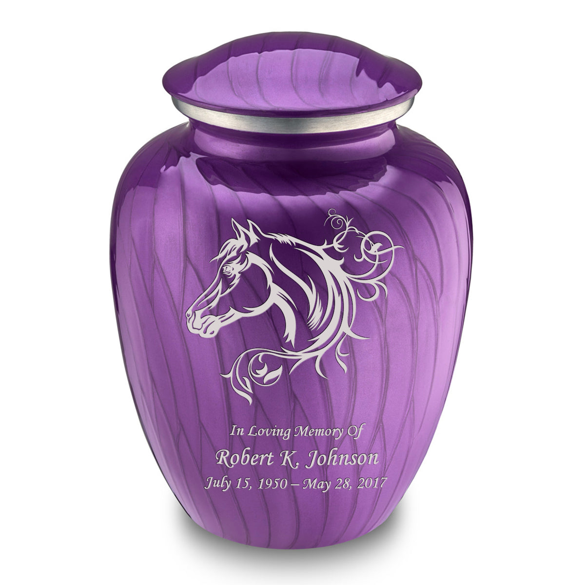 Adult Embrace Pearl Purple Horse Cremation Urn