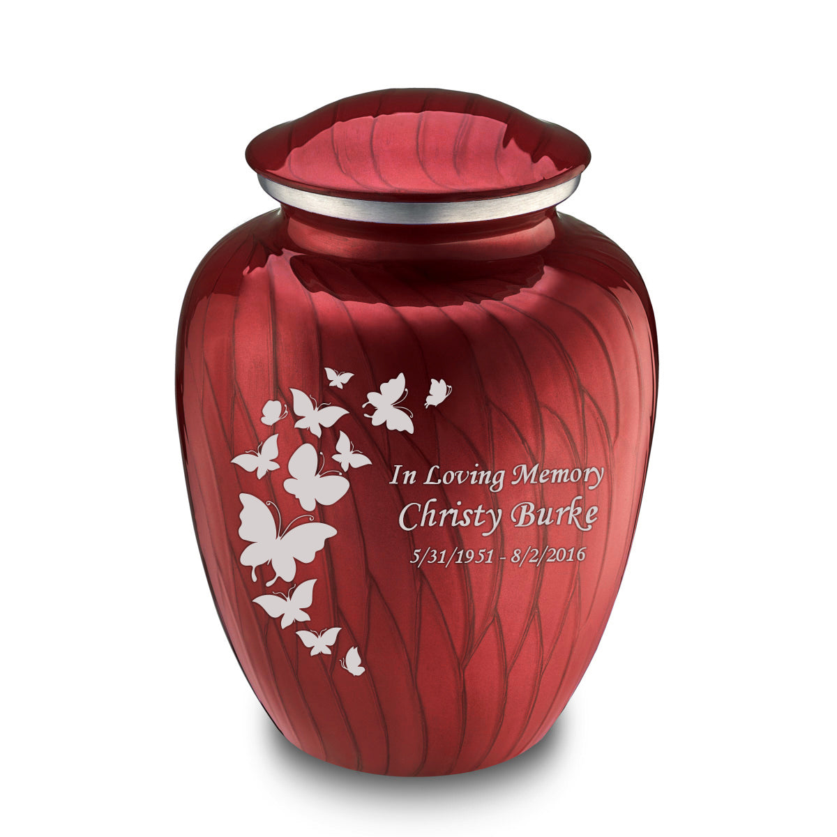 Adult Embrace Pearl Candy Red Butterfly Cremation Urn