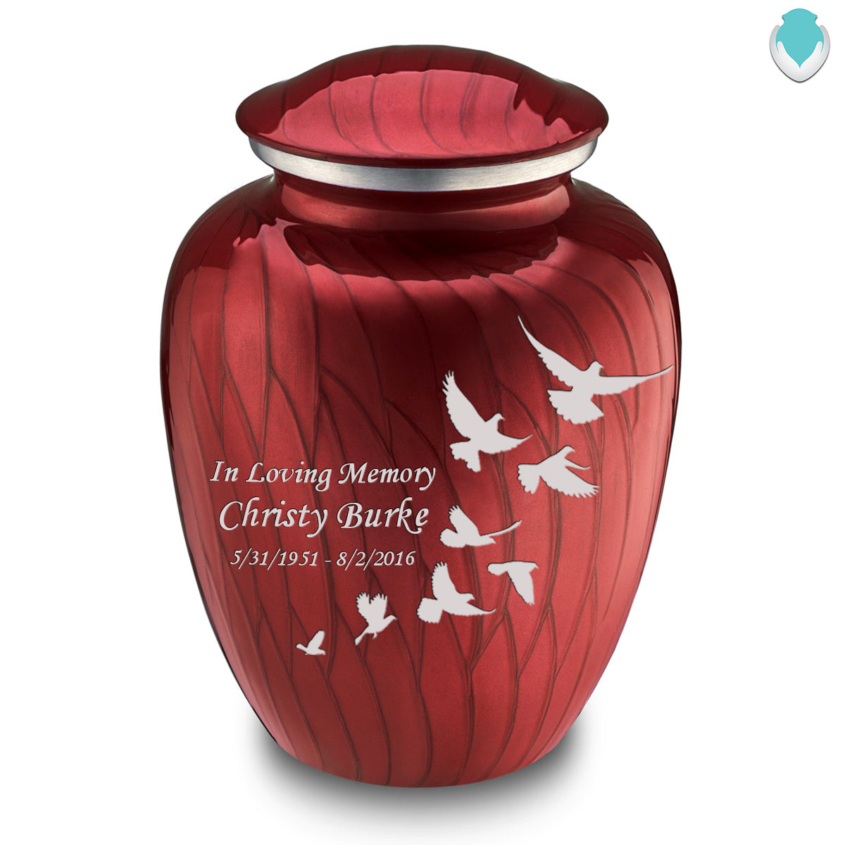 Adult Embrace Pearl Candy Red Doves Cremation Urn
