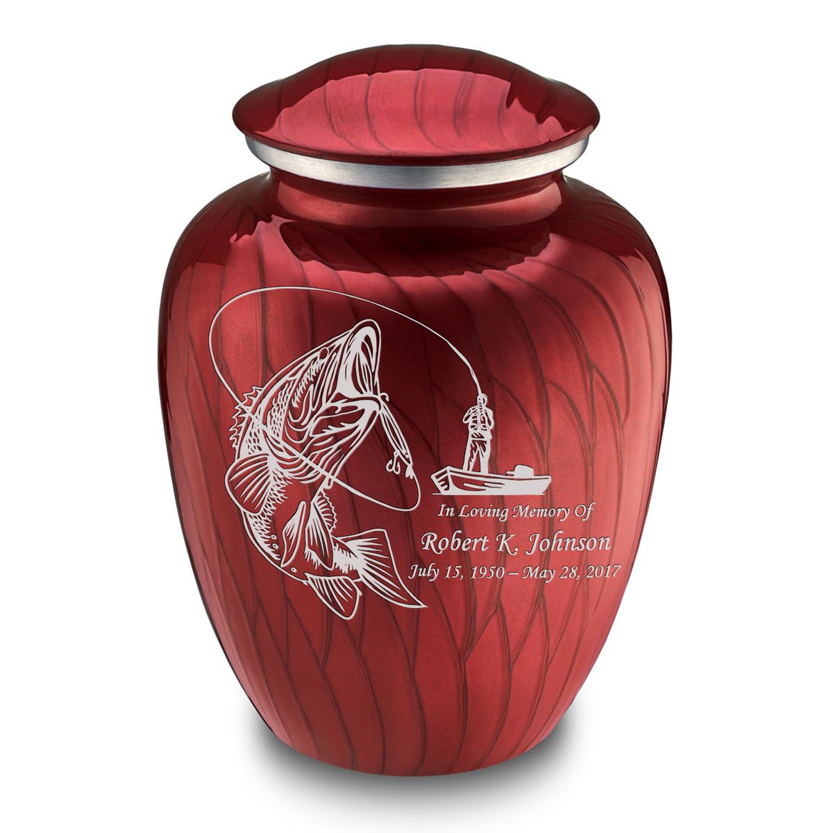 Adult Embrace Pearl Candy Red Fishing Cremation Urn