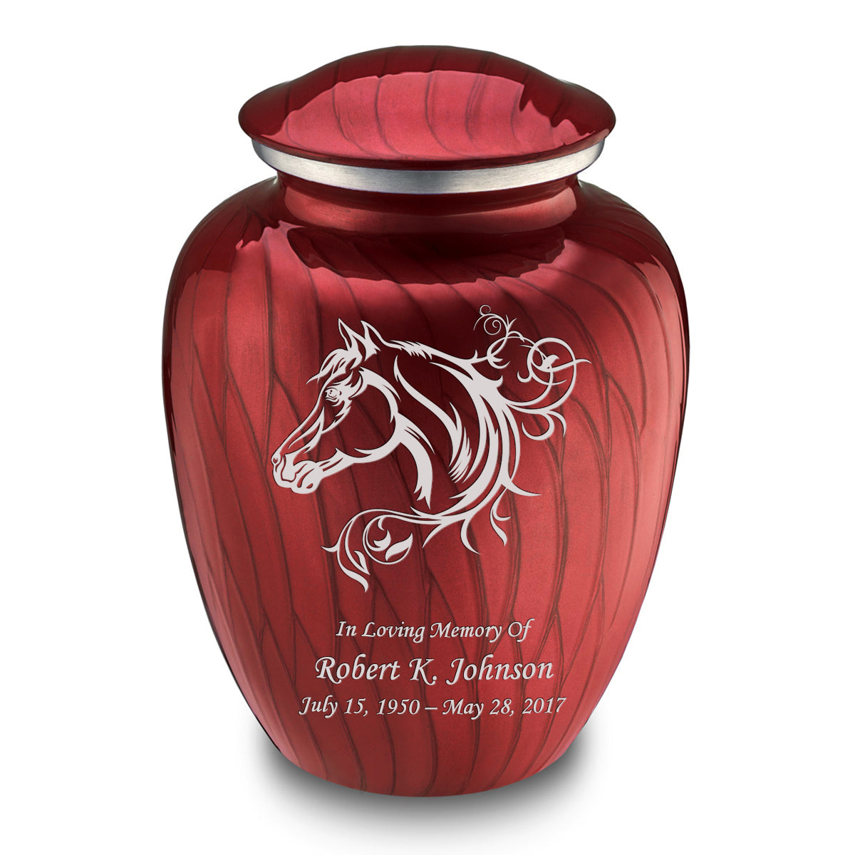 Adult Embrace Pearl Candy Red Horse Cremation Urn