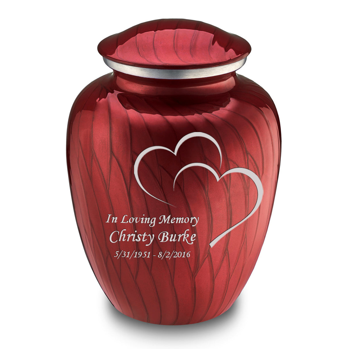 Adult Embrace Pearl Candy Red Hearts Cremation Urn