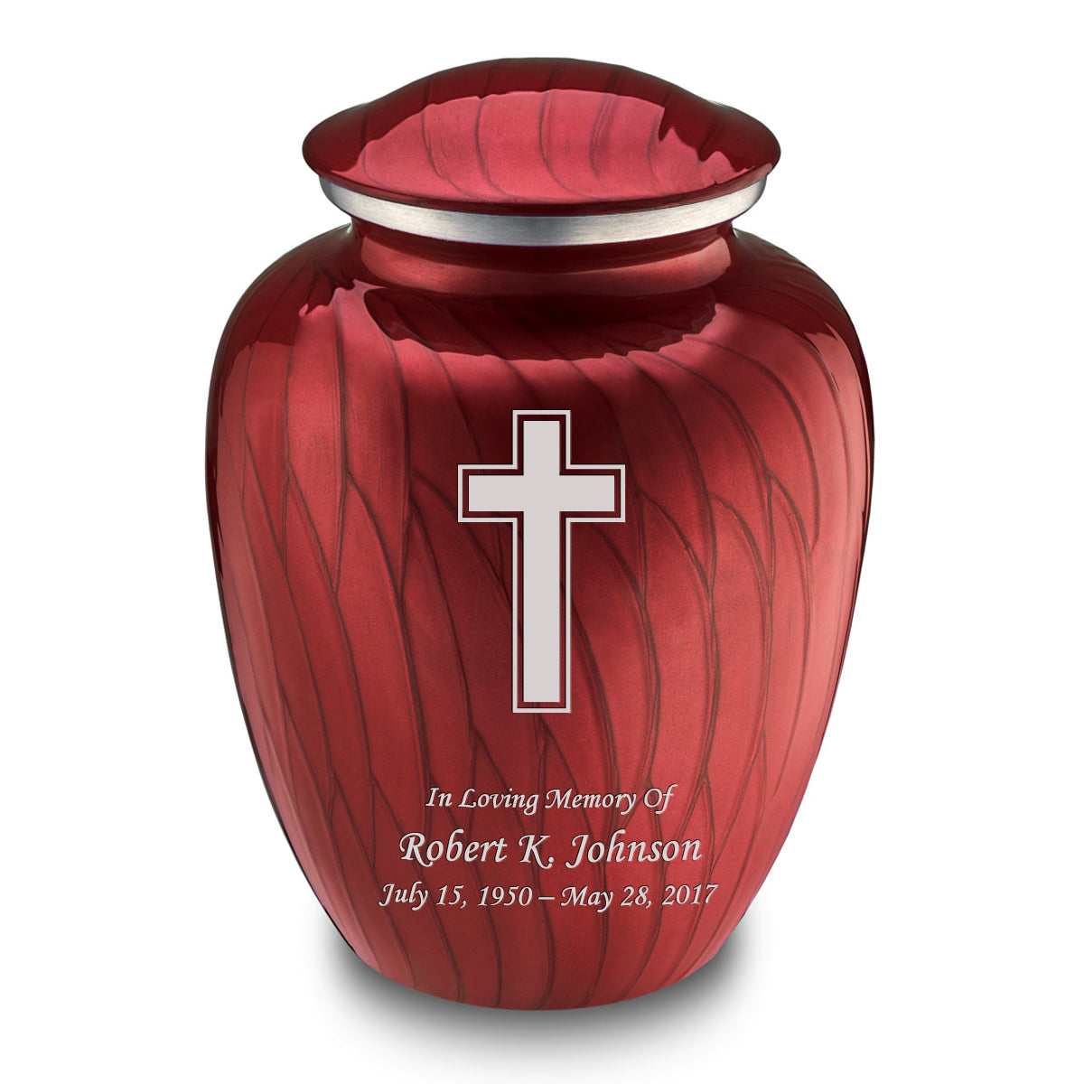 Adult Embrace Pearl Candy Red Simple Cross Cremation Urn