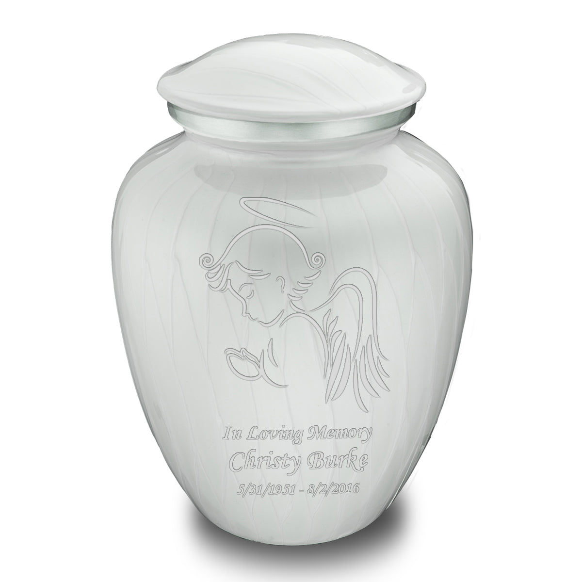 Adult Embrace Pearl White Angel Cremation Urn