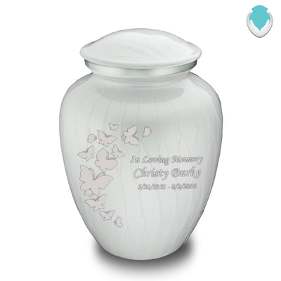 Adult Embrace Pearl White Butterfly Cremation Urn
