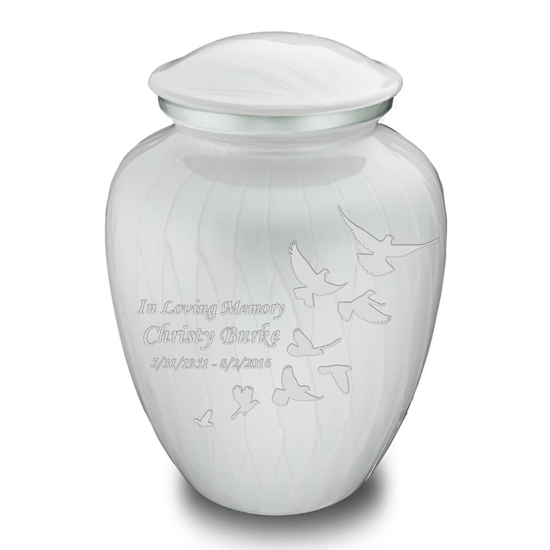 Adult Embrace Pearl White Doves Cremation Urn