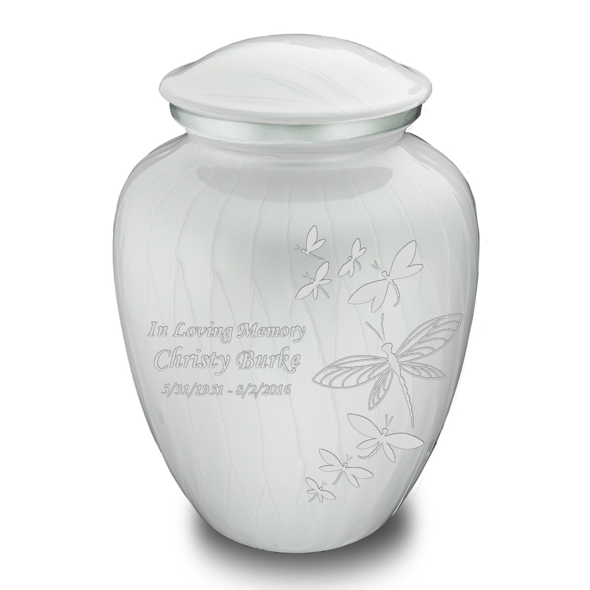 Adult Embrace Pearl White Dragonflies Cremation Urn