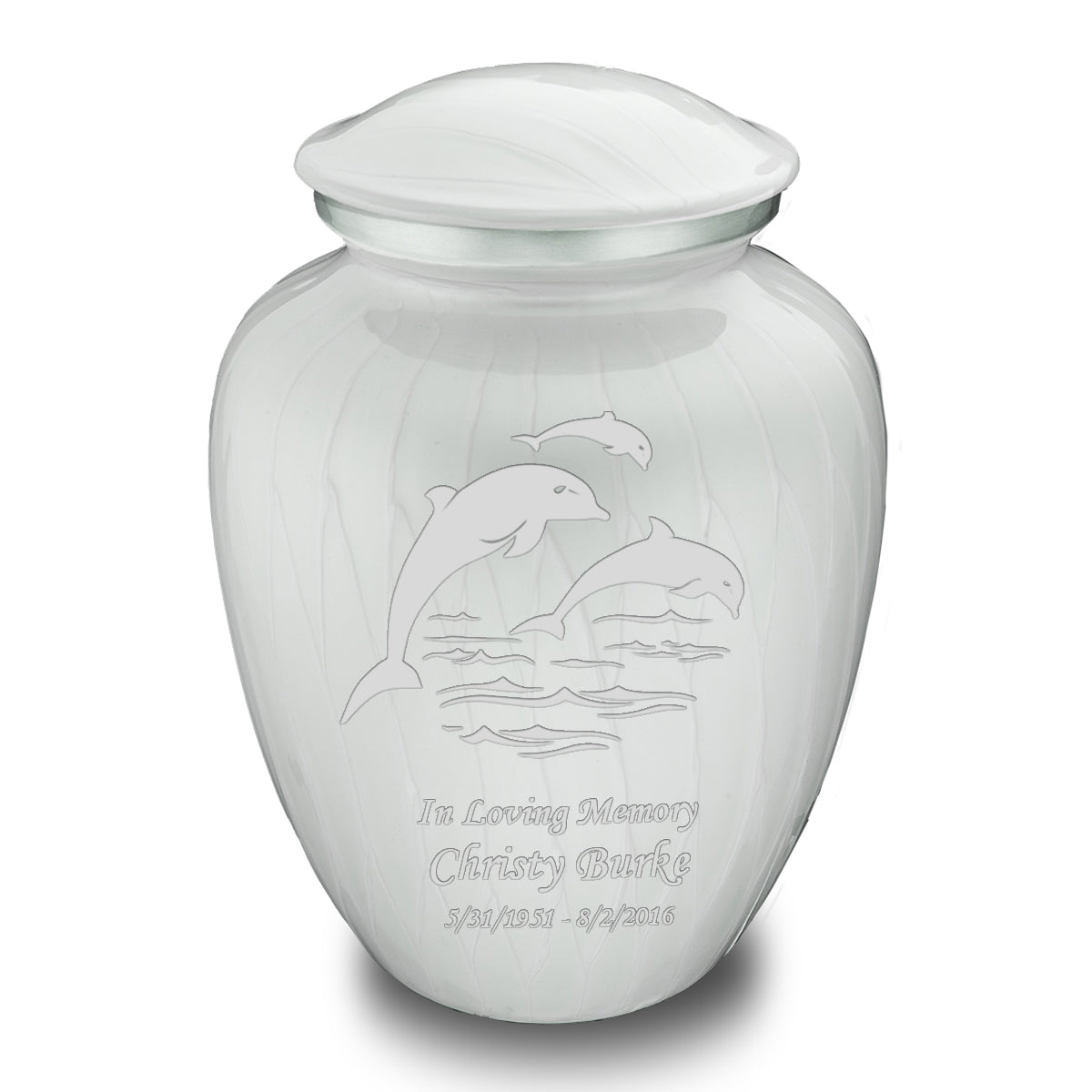 Adult Embrace Pearl White Dolphin Cremation Urn