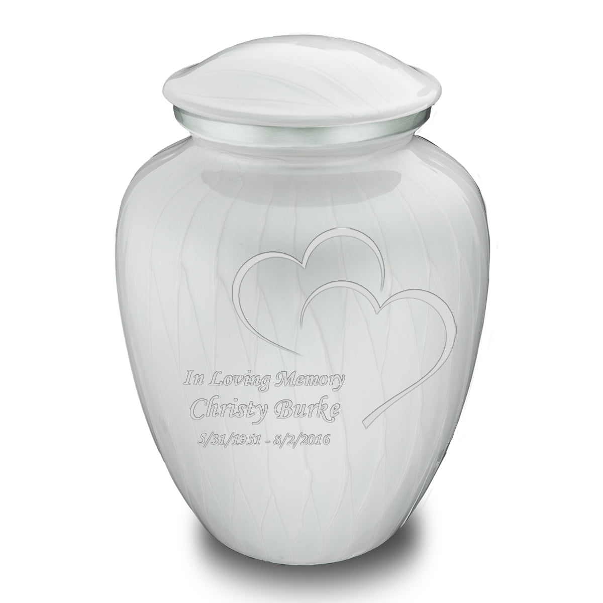 Adult Embrace Pearl White Hearts Cremation Urn