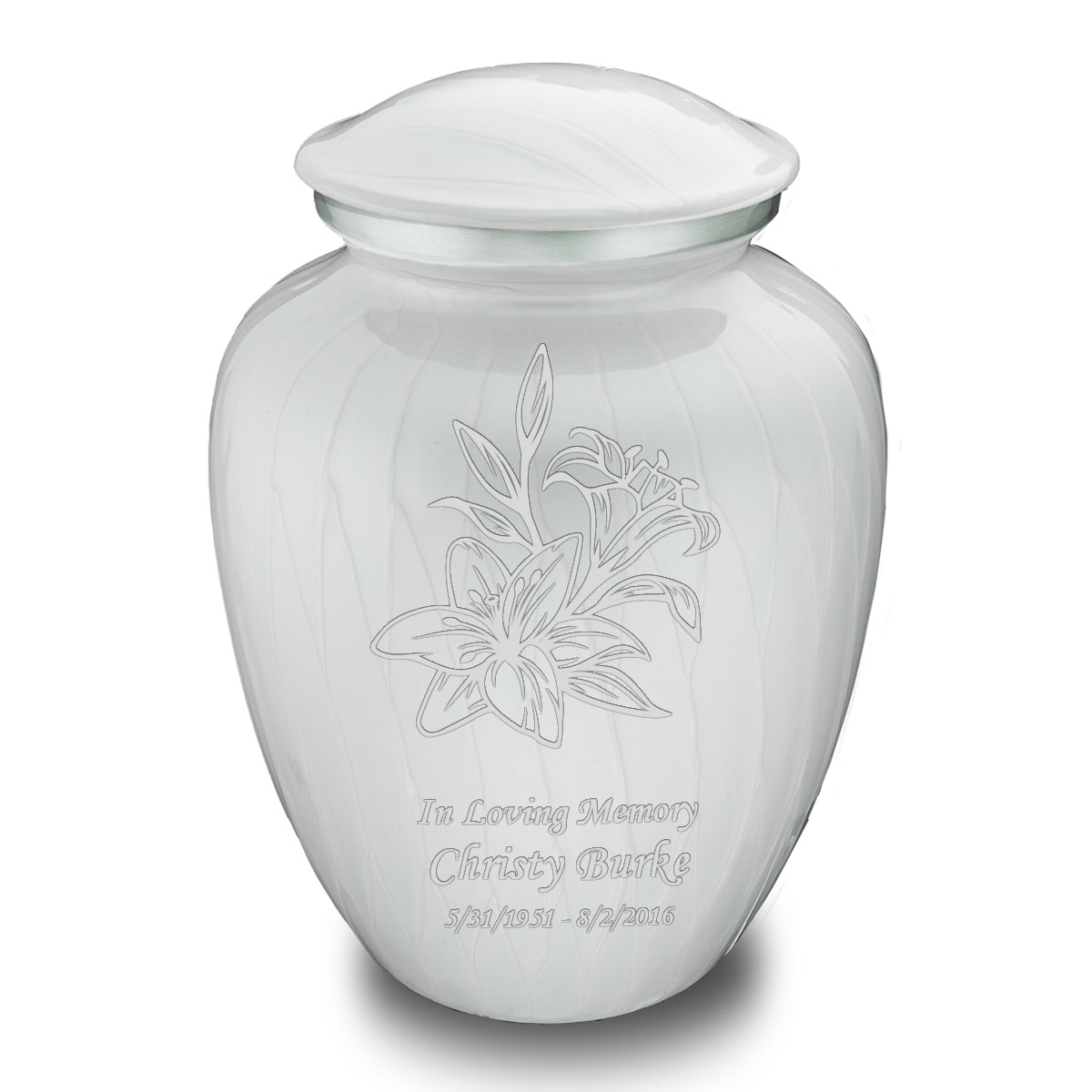 Adult Embrace Pearl White Lily Cremation Urn