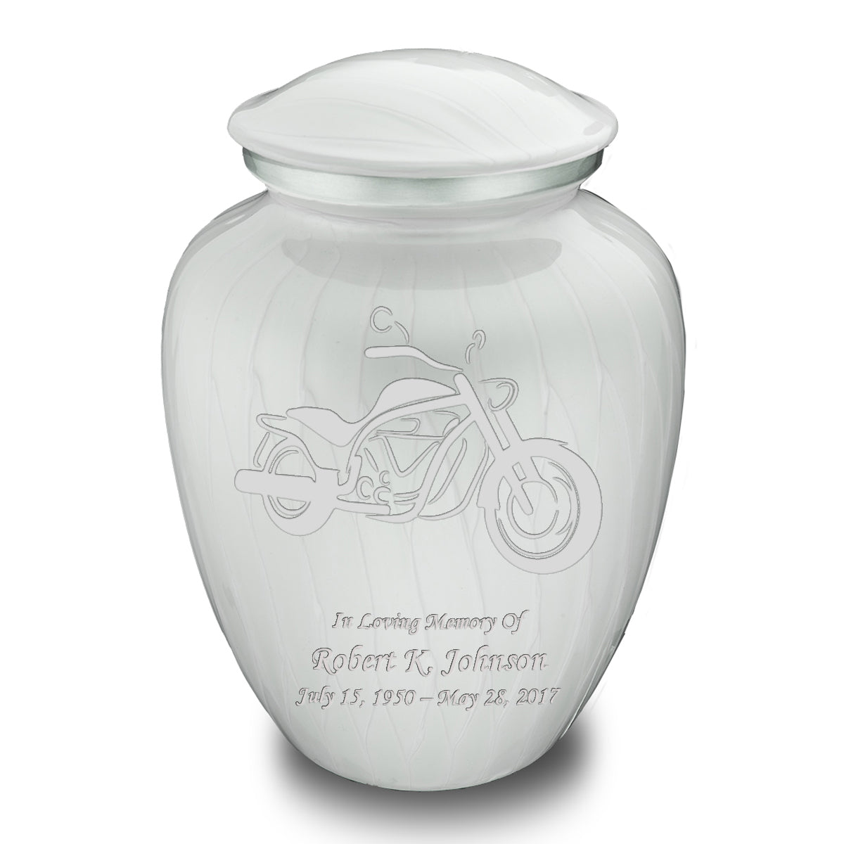 Adult Embrace Pearl White Motorcycle Cremation Urn