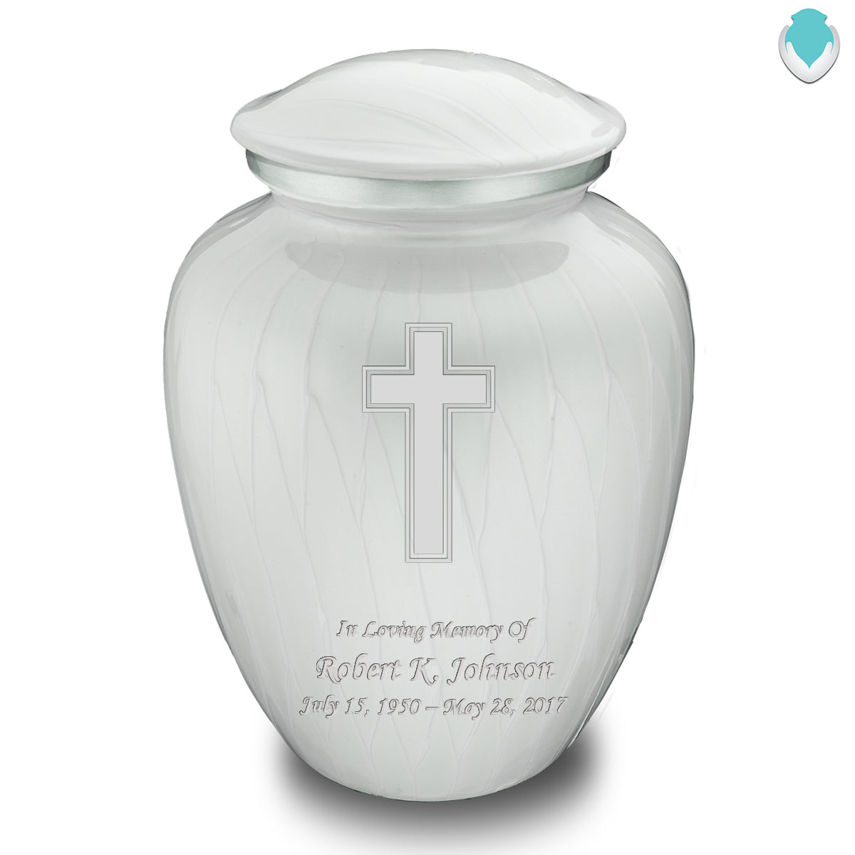 Adult Embrace Pearl White Simple Cross Cremation Urn