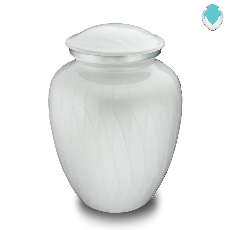 Adult Embrace Pearl White Cremation Urn