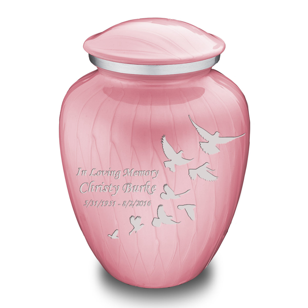 Adult Embrace Pearl Pink Doves Cremation Urn