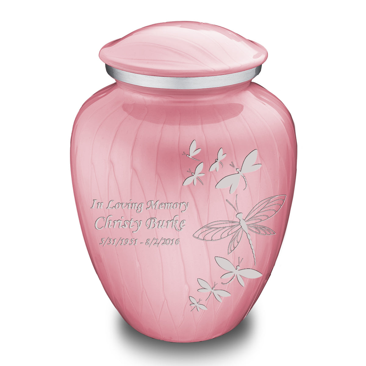 Adult Embrace Pearl Pink Dragonflies Cremation Urn