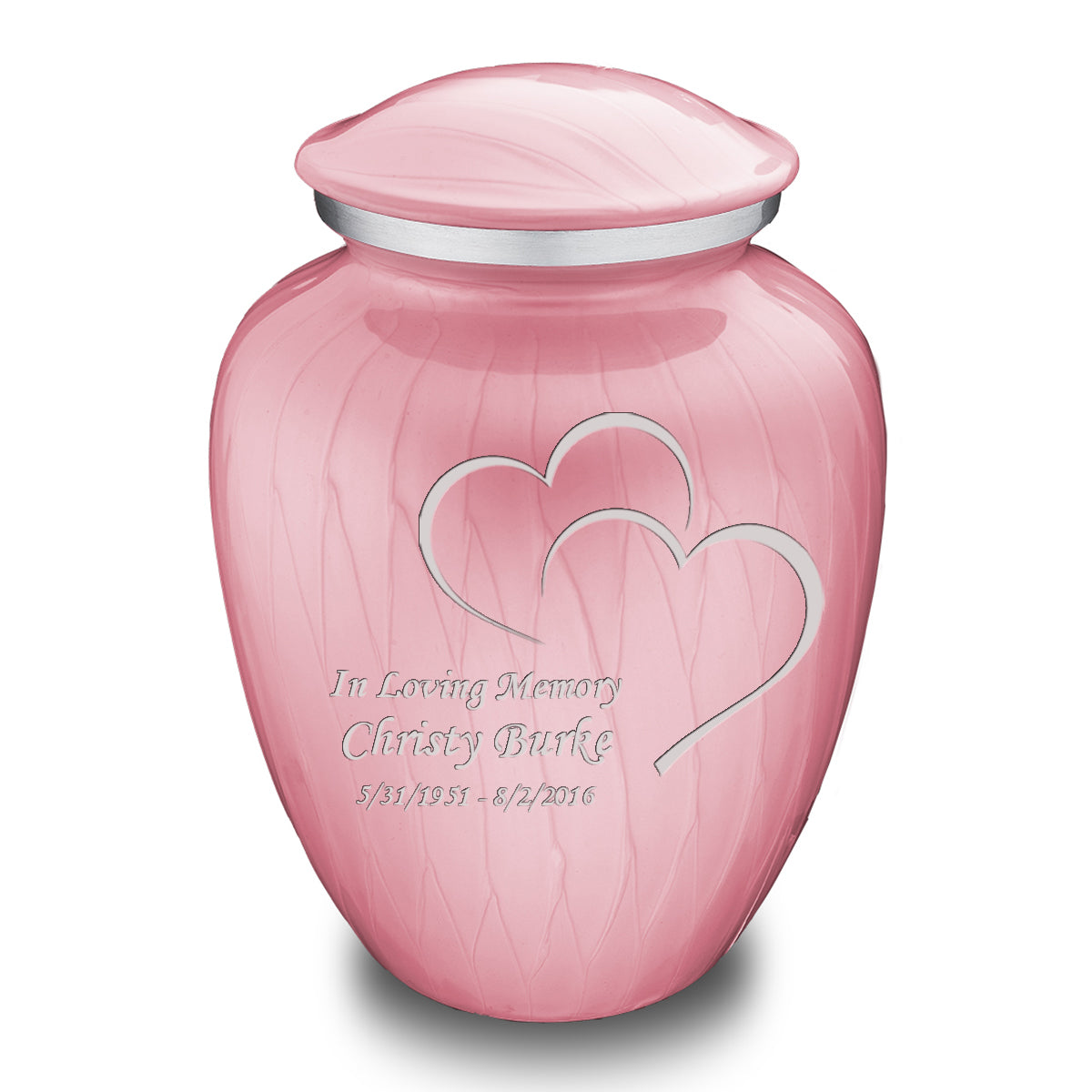 Adult Embrace Pearl Pink Hearts Cremation Urn
