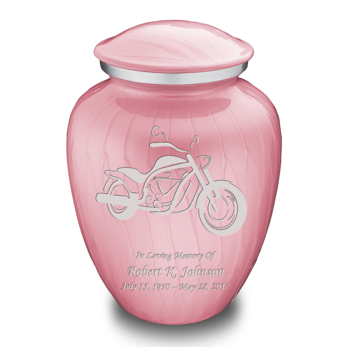 Adult Embrace Pearl Pink Motorcycle Cremation Urn