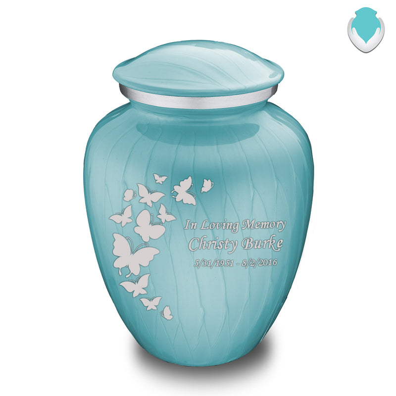 Adult Embrace Pearl Light Blue Butterfly Cremation Urn