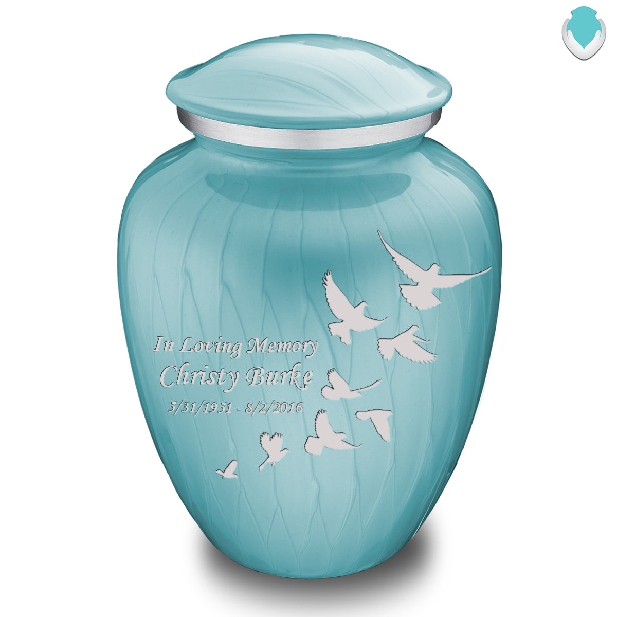 Adult Embrace Pearl Light Blue Doves Cremation Urn