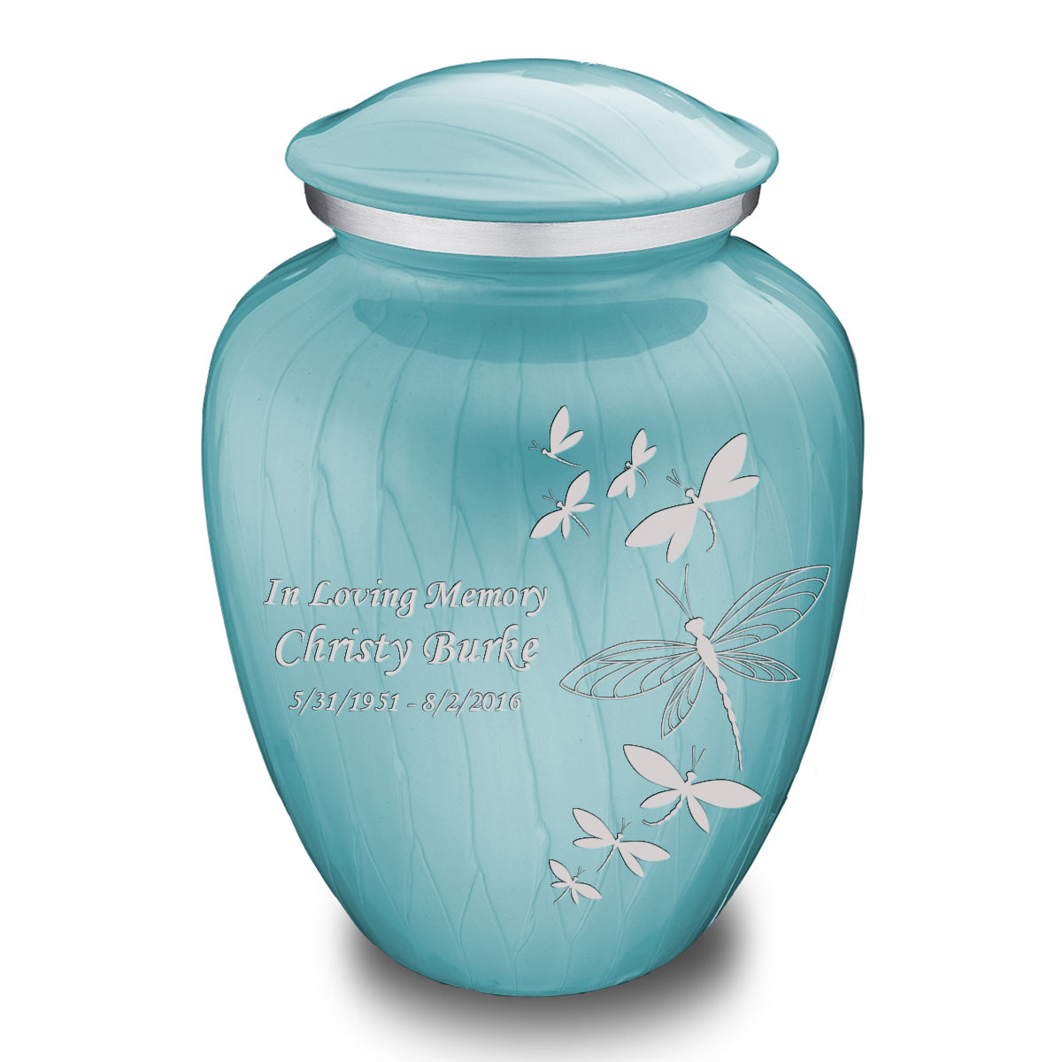 Adult Embrace Pearl Light Blue Dragonflies Cremation Urn